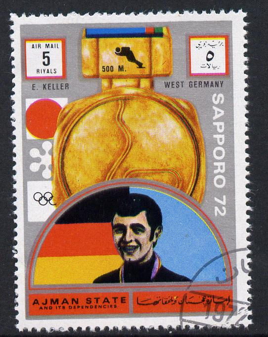 Ajman 1972 Sapporo Winter Olympic Gold Medallists - West Germany Keller Speed Skating 5r cto used Michel 1662