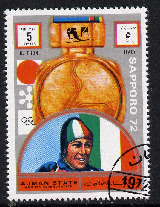 Ajman 1972 Sapporo Winter Olympic Gold Medallists - Italy Thoni Giant Slalom 5r cto used Michel 1649