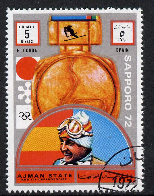 Ajman 1972 Sapporo Winter Olympic Gold Medallists - Spain Ochoa Downhill Skiing 5r cto used Michel 1637