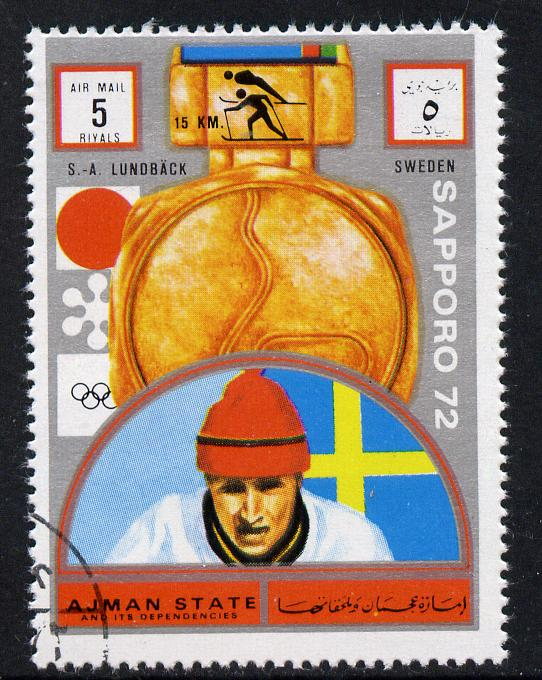 Ajman 1972 Sapporo Winter Olympic Gold Medallists - Sweden Lundback Cross-Country Skiing 5r cto used Michel 1663