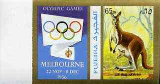 Fujeira 1972 Kangaroo 65 Dh imperf with label from Olympics Games - People & Places set of 20 unmounted mint, Mi 1052B