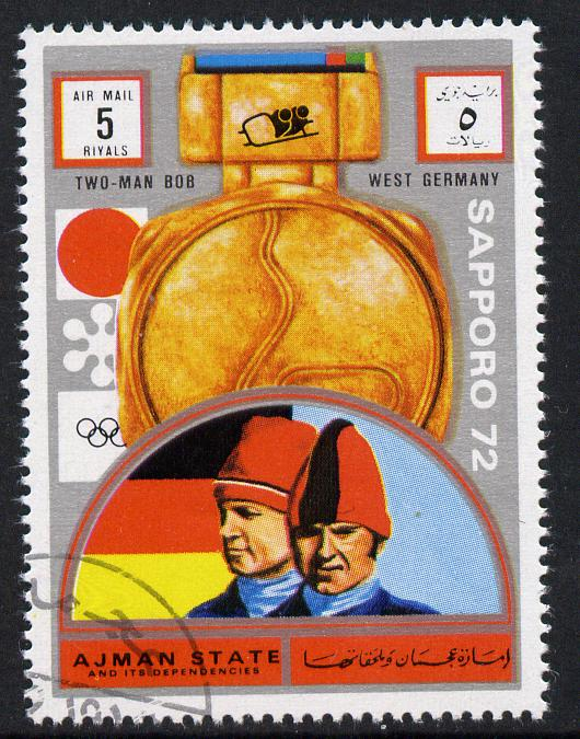 Ajman 1972 Sapporo Winter Olympic Gold Medallists - West Germany Two-man Bob Sled 5r cto used Michel 1668