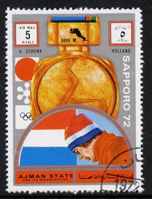Ajman 1972 Sapporo Winter Olympic Gold Medallists - Netherlands Schenk Speed Skating (5,000m) 5r cto used Michel 1642