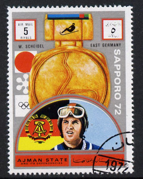 Ajman 1972 Sapporo Winter Olympic Gold Medallists - East Germany Scheidel Bob Sled 5r cto used Michel 1643