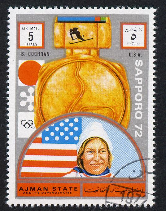 Ajman 1972 Sapporo Winter Olympic Gold Medallists - USA Cochran Downhill Skiing 5r cto used Michel 1641