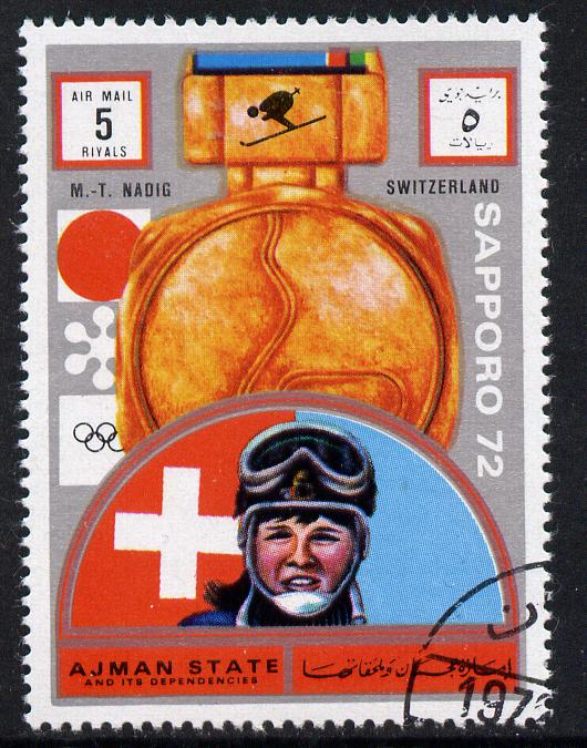 Ajman 1972 Sapporo Winter Olympic Gold Medallists - Switzerland Nadig Downhill Skiing 5r cto used Michel 1661