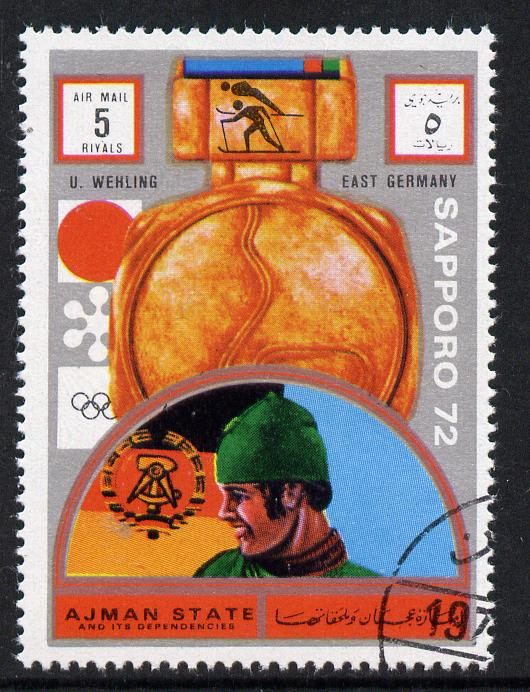 Ajman 1972 Sapporo Winter Olympic Gold Medallists - East Germany Wehling Nordic Combination 5r cto used Michel 1638