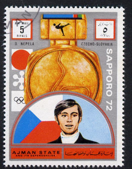 Ajman 1972 Sapporo Winter Olympic Gold Medallists - Czech Republic Nepela Figure Skating 5r cto used Michel 1655