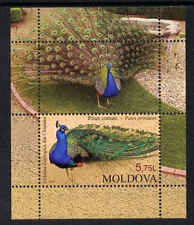 Moldova 2013 Zoo Animals - Peacock perf m/sheet containing one value plus label unmounted mint