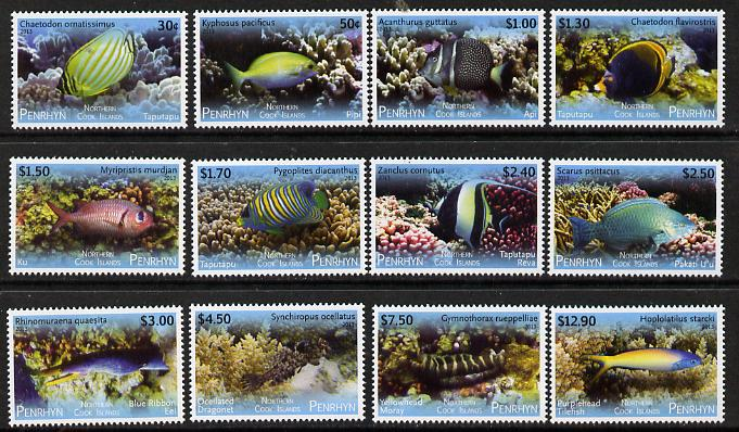 Cook Islands - Penrhyn 2013 Tropical Fish of the Pacific definitive perf set of 12 unmounted mint