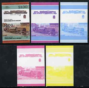 St Vincent - Union Island $3 Locomotive class 2-8-0 + 0-8-2 set of 5 imperf se-tenant proof pairs printed in blue, magenta, yellow, blue & magenta plus all 4 colours unmounted mint