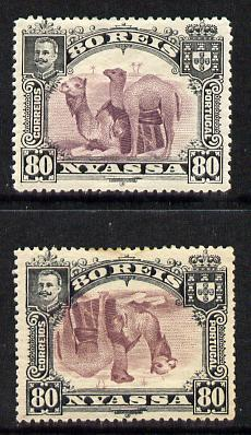Nyassa Company 1901 Dromedaries 80r with inverted centre plus normal both mounted mint, SG 35a