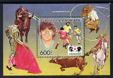 Central African Republic 1985 Football World Cup perf m/sheet (Maradona) unmounted mint SG MS 1123