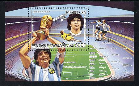 Central African Republic 1986 Football World Cup perf m/sheet (Maradona) unmounted mint SG MS 1220