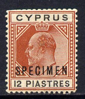 Cyprus 1902-04 KE7 Crown CA 18pi black & brown overprinted SPECIMEN with gum & only about 730 produced, SG 56s
