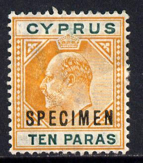 Cyprus 1904-10 KE7 MCA 10pa orange & green overprinted SPECIMEN with some gum & wrinkled but only about 730 produced, SG 61s