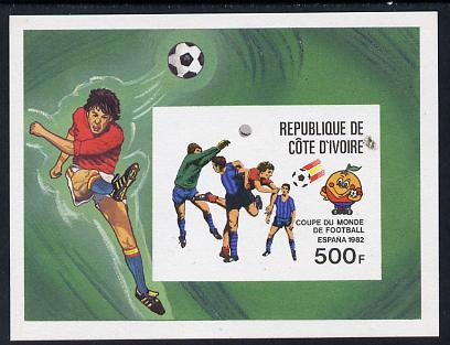 Ivory Coast 1982 World Cup Football imperf m/sheet proof in issued colours on thin card as Mi BL19