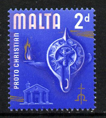 Malta 1965-70 Historical def 2d showing a 1.5mm misplacement of the pink to left unmounted mint