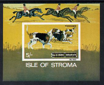 Stroma 1971 Dogs 5s (Foxhounds) imperf m/sheet overprinted 'Emergency Strike Post/ International Mail' for use on the British mainland unmounted mint