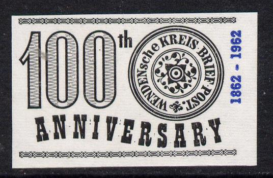 Russia 1963 100th Anniversary of Wenden Serbia Kreis Post imperf label black on white paper unmounted mint