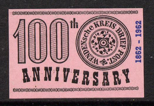 Russia 1963 100th Anniversary of Wenden Serbia Kreis Post imperf label black on pink paper unmounted mint
