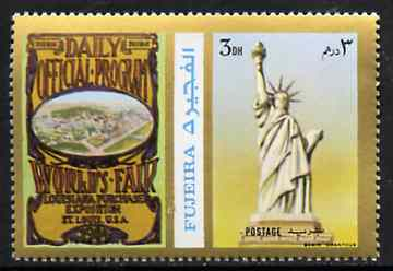 Fujeira 1972 Statue of Liberty 3 Dh perf se-tenant with label (showing Worlds Fair Programme) from Olympics Games - People & Places set of 20 unmounted mint, Mi 1042A