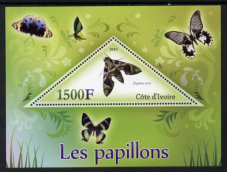 Ivory Coast 2013 Butterflies #1 perf deluxe sheet containing one triangular value unmounted mint