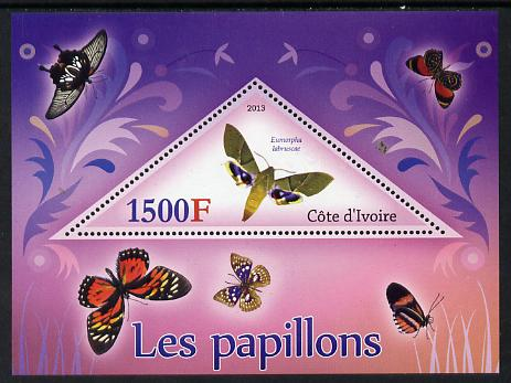 Ivory Coast 2013 Butterflies #2 perf deluxe sheet containing one triangular value unmounted mint