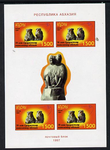 Abkhazia 1997 Monkeys (red background) imperf sheetlet containing 4 values unmounted mint