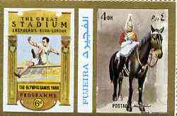 Fujeira 1972 Horse Guard, London 4 Dh perf se-tenant with label (showing Jumper) from Olympics Games - People & Places set of 20 unmounted mint, Mi 1043A