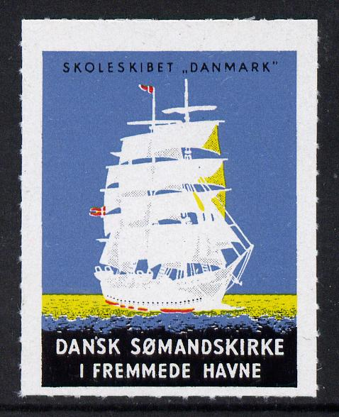 Denmark Training Ship label for Seaman's Church unmounted mint