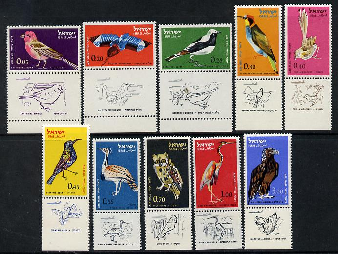 Israel 1963 Birds perf set of 10 with tabs unmounted mint  SG 244-53
