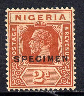 Nigeria 1921-32 KG5 Script CA 2d chestnut opt'd SPECIMEN fine without gum and only about 400 produced SG 19s