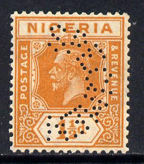 Nigeria 1921-32 KG5 Script CA 1.5d orange perforated SPECIMEN fine without gum and only about 400 produced SG 17s