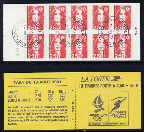 France 1991 Marianne 2f50 self-adhesive booklet (Winter Olympics on front cover) complete with cds cancels SG DSB105a