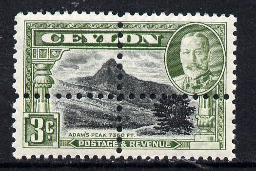 Ceylon 1935-36 KG5 Adam's Peak 3c genuine stamp with forged double perfs (stamp is quartered) unmounted mint as SG 369
