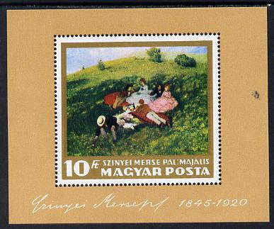 Hungary 1966 Paintings in Hungarian National Gallery (1st series) perf m/sheet (Picnic in May) unmounted mint SG MS 2245