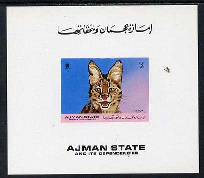 Ajman 1971 Wild cats 50Dh Serval imperf deluxe sheet unmounted mint as Mi B1275