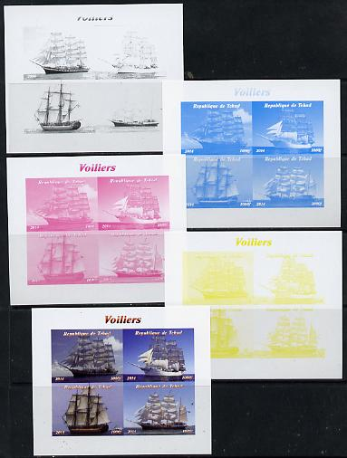 Chad 2014 Sailing Ships #1 sheetlet containing 4 values - the set of 5 imperf progressive proofs comprising the 4 individual colours plus all 4-colour composite, unmounted mint
