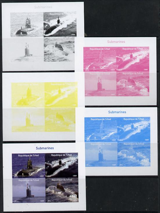 Chad 2014 Submarines #1 sheetlet containing 4 values - the set of 5 imperf progressive proofs comprising the 4 individual colours plus all 4-colour composite, unmounted mint