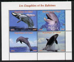 Chad 2014 Whales & Dolphins perf sheetlet containing 4 values unmounted mint. Note this item is privately produced and is offered purely on its thematic appeal. .