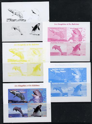 Chad 2014 Whales & Dolphins sheetlet containing 4 values - the set of 5 imperf progressive proofs comprising the 4 individual colours plus all 4-colour composite, unmounted mint