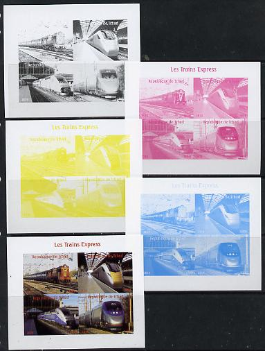 Chad 2014 High Speed Trains #1 sheetlet containing 4 values - the set of 5 imperf progressive proofs comprising the 4 individual colours plus all 4-colour composite, unmounted mint