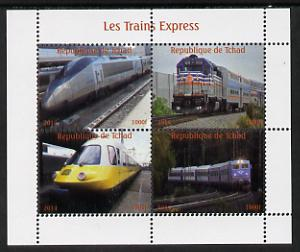 Chad 2014 High Speed Trains #2 perf sheetlet containing 4 values unmounted mint. Note this item is privately produced and is offered purely on its thematic appeal. .