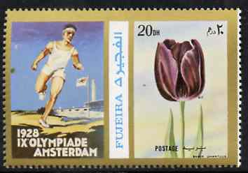 Fujeira 1972 Tulip 20 Dh perf se-tenant with label (showing Runner) from Olympics Games - People & Places set of 20 unmounted mint, Mi 1047A
