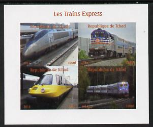 Chad 2014 High Speed Trains #2 imperf sheetlet containing 4 values unmounted mint. Note this item is privately produced and is offered purely on its thematic appeal. .