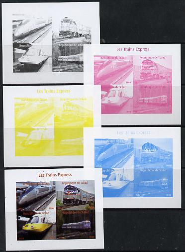 Chad 2014 High Speed Trains #2 sheetlet containing 4 values - the set of 5 imperf progressive proofs comprising the 4 individual colours plus all 4-colour composite, unmounted mint