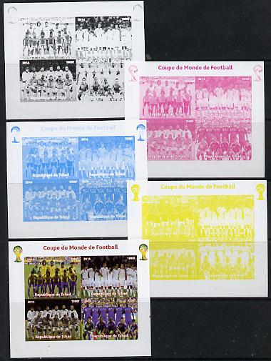 Chad 2014 Football World Cup #1 sheetlet containing 4 values - the set of 5 imperf progressive proofs comprising the 4 individual colours plus all 4-colour composite, unmounted mint