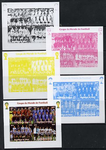 Chad 2014 Football World Cup #2 sheetlet containing 4 values - the set of 5 imperf progressive proofs comprising the 4 individual colours plus all 4-colour composite, unmounted mint