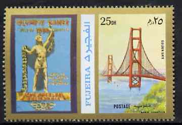 Fujeira 1972 Golden Gate Bridge 25 Dh perf se-tenant with label from Olympics Games - People & Places set of 20 unmounted mint, Mi 1048A